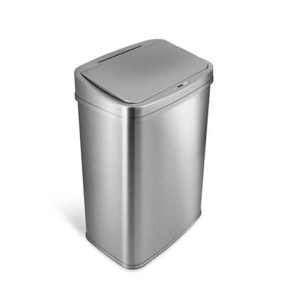 13 Gal. Silver Stainless Steel Rectangular Shape Motion Sensor Trash Can