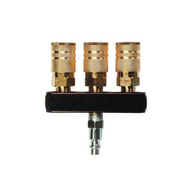 3-Way Bar Air Manifold with 1/4 in. 6-Ball Brass Couplers