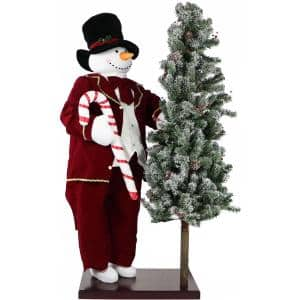 60 in. Christmas Animated Snowman with Flocked Christmas Tree On Base