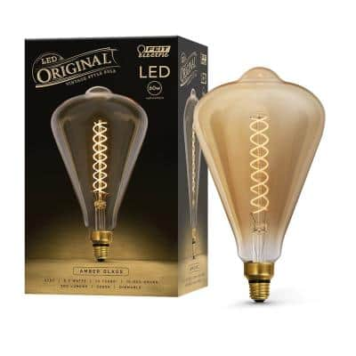60W Equivalent ST52 Dimmable LED Amber Glass Vintage Edison Oversized Light Bulb With Spiral Filament Warm White
