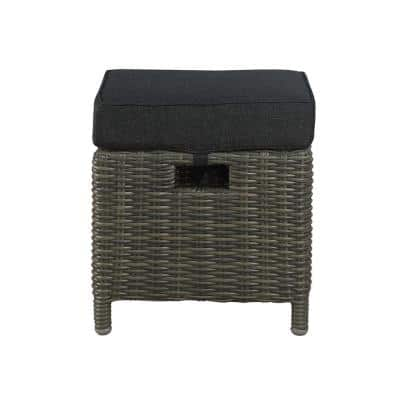 Asti All-Weather Wicker Outdoor 15 in. Square Ottomans with Dark Gray Cushions (Set of 2)