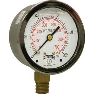 2.5 in. Stainless Steel Liquid Filled Case Pressure Gauge with 1/4 in. NPT Bottom Connection and Range of 0-100 psi/kPa