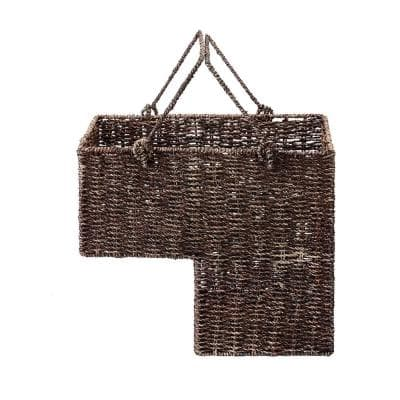 8 in. W x 14 in. H Handmade Wicker Staircase Basket with Handles in Brown