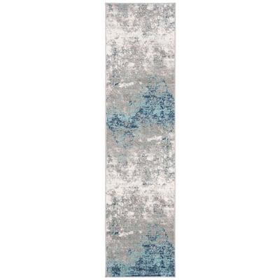 Brentwood Light Grey/Blue 2 ft. x 6 ft. Runner Rug