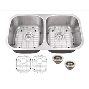 All-in-One Undermount 16-Gauge Stainless Steel 32-1/4 in. 0-Hole 50/50 Double Bowl Kitchen Sink