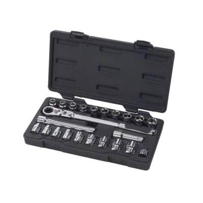 3/8 in. Drive Gear Ratchet and Socket Set (23-Piece)