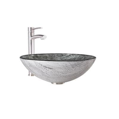 Glass Round Vessel Bathroom Sink in Titanium Gray with Milo Faucet and Pop-Up Drain in Brushed Nickel