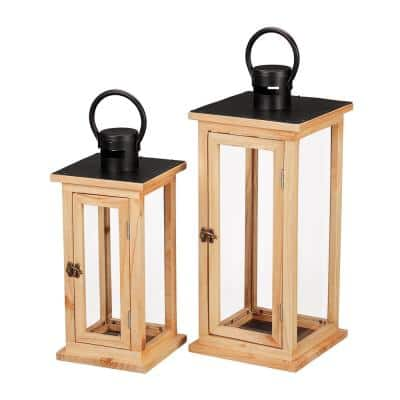 Natural Wood Candle Hanging or Tabletop Lantern with Metal Top (Set of 2)