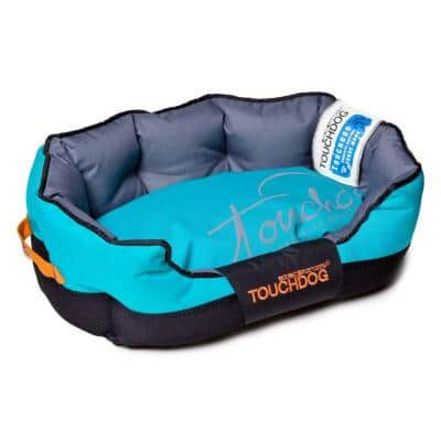 Large Sky Blue and Black Bed