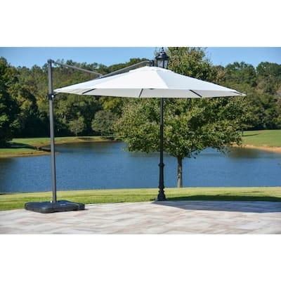 11 ft. Aluminum Cantilever Tilt Patio Umbrella in Off White with Black Pole