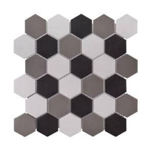 Ink Blot Gray 12.625 in. x 10.875 in. Hexagon Matte Porcelain Wall and Floor Mosaic Tile  (0.953 sq. ft./Each)
