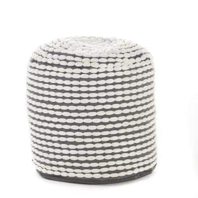Conney White Fabric Round Outdoor Ottoman Pouf