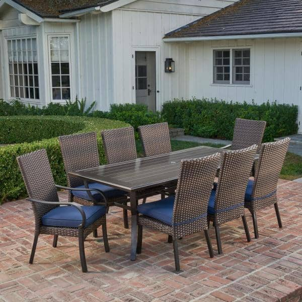 Royal Garden Anacortes 9 Piece Aluminum And Steel Outdoor Dining Set With Midnight Cushions Frs60632 St The Home Depot