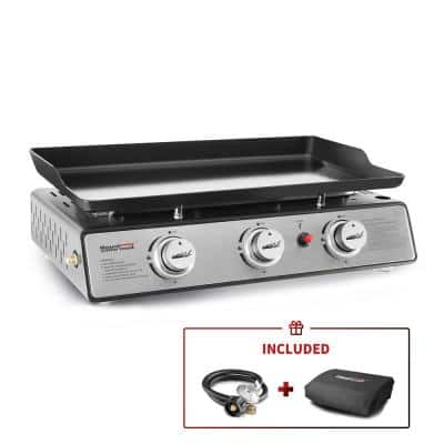 24 in. 3-Burner Portable Table Top Propane Gas Grill Griddle in Black