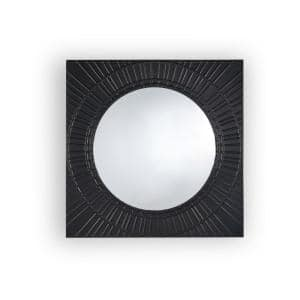 Small Square Black Modern Mirror (15.43 in. H x 36 in. W)