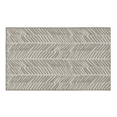 Modern Living Room with Nonslip Backing, Abstract Beige Chevron Strokes Pattern, 3 ft. x 5 ft. Extra Small Area Rug