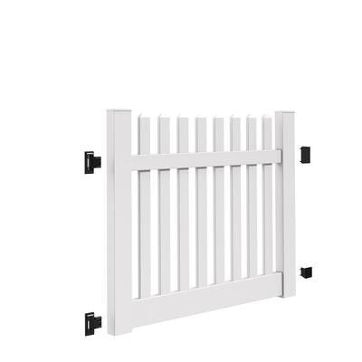 Kettle Straight 5 ft. W x 4 ft. H White Vinyl Un-Assembled Fence Gate