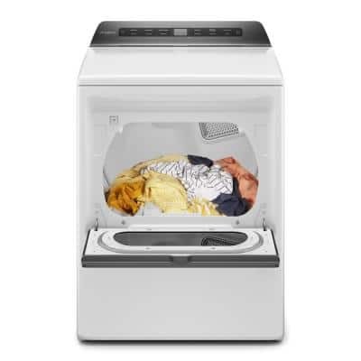 7.4 cu. ft. 120-Volt Smart White Gas Vented Dryer with Hamper Door and Wrinkle Shield Technology