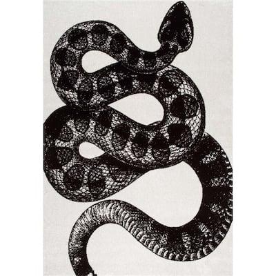 Thomas Paul Serpent Black & White 5 ft. x 8 ft. Area Rug