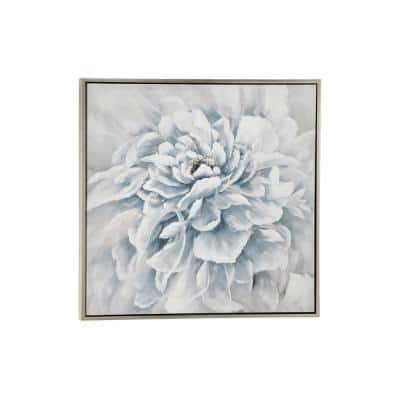 39.5 in. Large Square Blue and White Peony Flower Acrylic Painting in Silver Frame