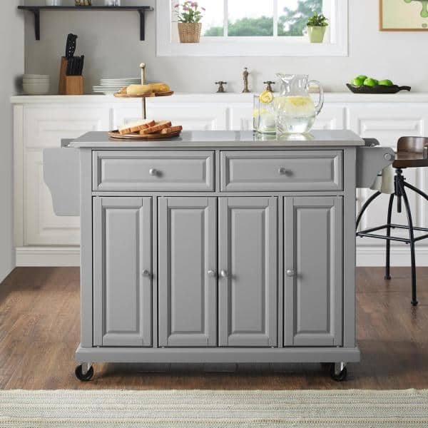 Crosley Full Size Grey Kitchen Cart With Stainless Steel Top Kf30002egy The Home Depot