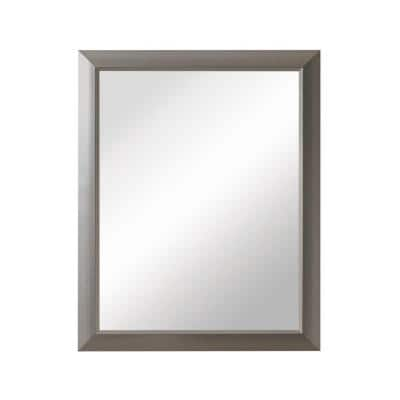 Barrington 15 in. W x 19 in. H x 5 in. D Framed Recessed or Surface-Mount Bathroom Medicine Cabinet in Satin Nickel