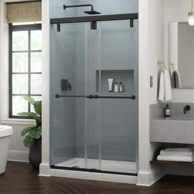 Lyndall 48 in. x 71-1/2 in. Frameless Mod Soft-Close Sliding Shower Door in Matte Black with 3/8 in. (10 mm) Clear Glass