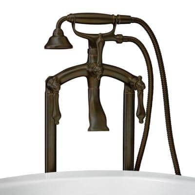 Vintage Style 3-Handle Floor Mount Claw Foot Tub Faucet with Metal Levers and Handshower in Oil Rubbed Bronze