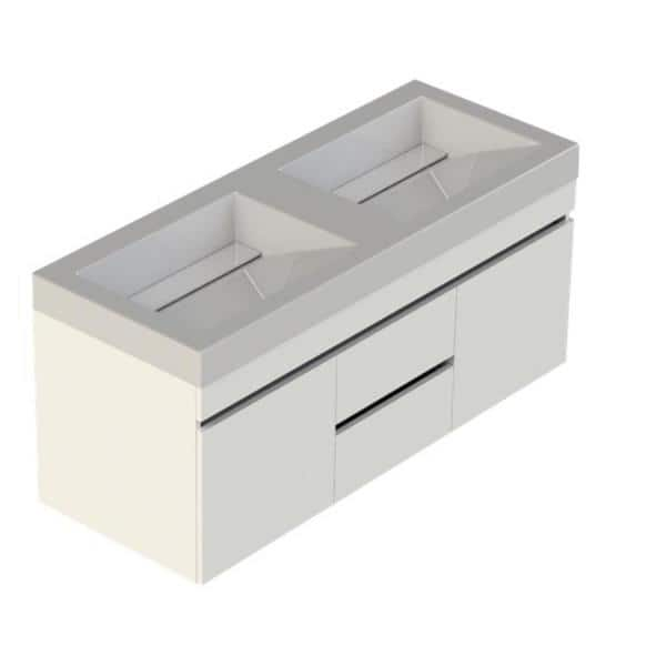 Lift Bridge Kitchen Bath Viteli Genova 48 In W X 19 In D Vanity In White With Cultured Marble Vanity Top In White With Double White Basin 48vgenwht The Home Depot