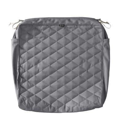 Montlake FadeSafe 25 in. W x 27 in. D x 5 in. T Grey Quilted Lounge Cushion Slipcover