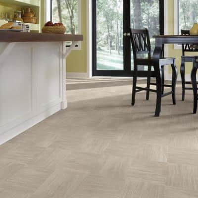 Woven Grey Tile Ceramic Residential Vinyl Sheet Flooring 13.2ft Wide x Cut to Length