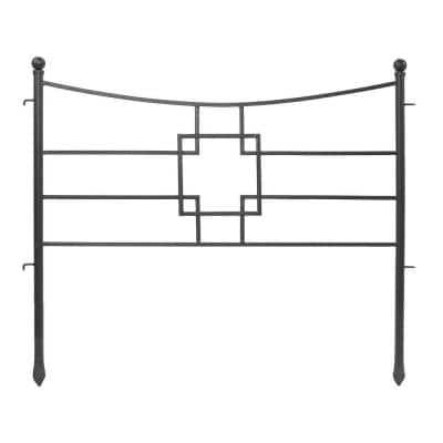 31.5 in. Tall Graphite Powder Coat Iron Square-on-Squares Garden Fence Section