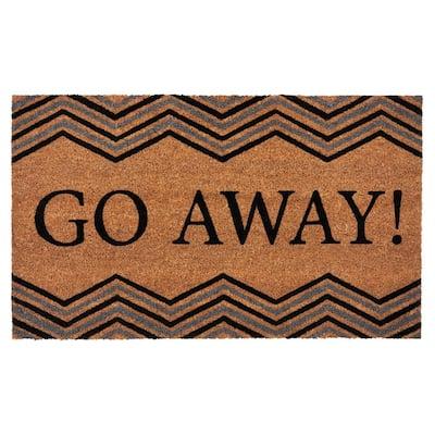 Go Away 18 in. x 30 in. Printed Coir Door Mat