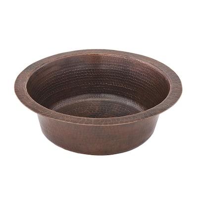 Bronze 16 Gauge Copper 14 in. Dual Mount Bar Sink with 2 in. Drain Opening
