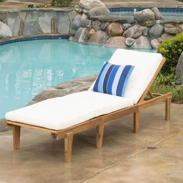 Noble House Ariana Teak Wood Outdoor Chaise Lounge With Cream Cushion 7344 The Home Depot