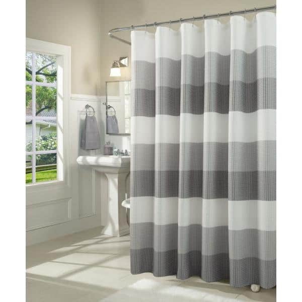 Dainty Home Ombre 72 In Gray Waffle, Shower Curtains Gray And Beige