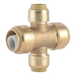 3/4 in. x 3/4 in. x 1/2 in. x 1/2 in. Push-to-Connect Brass Cross Tee Fitting