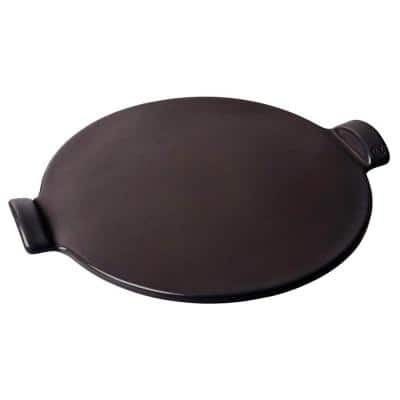 14 in. Round BBQ Ceramic Smooth Pizza Stone Bakeware, Charcoal