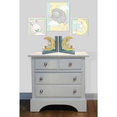 """Sweet Dreams Multi Colored Painted Wood """"Moon"""" Bookends (Set of 2)"""