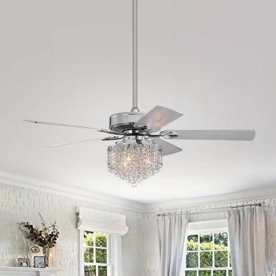 Ella 52 in. Indoor Chrome Ceiling Fan with Light and Remote Control