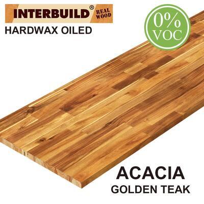 Acacia 6 ft. L x 25 in. D x 1.5 in. T Butcher Block Countertop in Golden Teak Stain