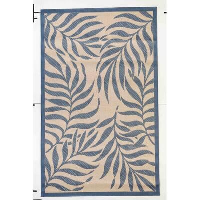 FW Collection Pothos Dark Blue 9 ft. x 12 ft. Botanical Polypropylene Indoor/Outdoor Area Rug