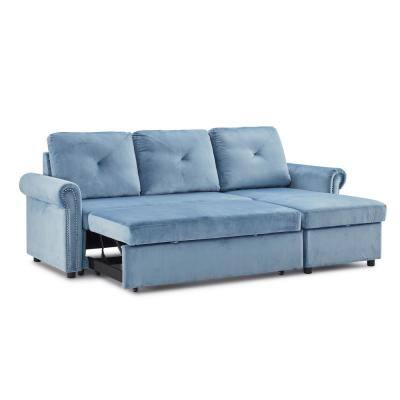 83.46 in. Width Blue Velvet 3-Seats Convertible Sofa