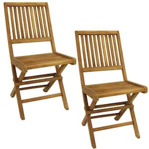 Nantasket Light Brown Folding Teak Outdoor Dining Chair (2-Pack)