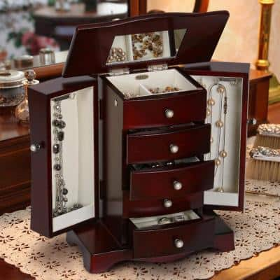 Bette Mahogany Finish Wooden Jewelry Box