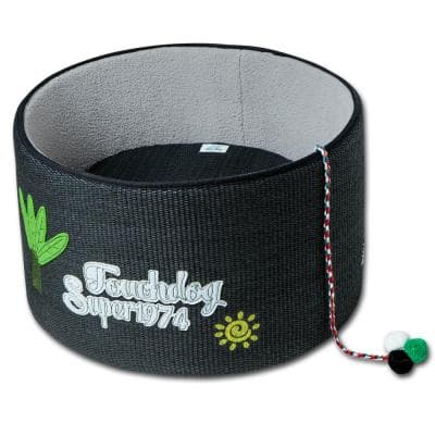 One Size Black Claw-Ver Nest Rounded Scratching Cat Bed with Teaser Toy