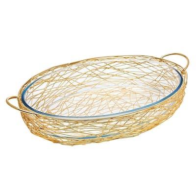 Nest Oval Gold Baker with Glass Insert