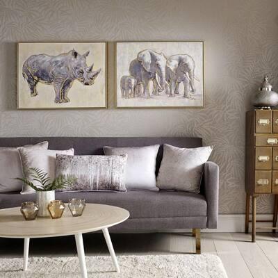 "24 in. x 31 in. ""Metallic Elephant Family"" Print Framed Canvas Wall Art"