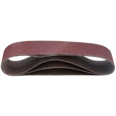3 in. x 18 in. Red 60/80/120 Assorted Grits Sanding Belt Pack (3-Pack)