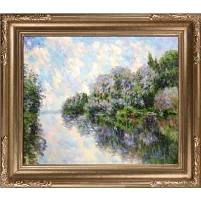 """31 in. x 27 in. """"The Seine near Giverny with Florentine Dark Champagne Frame """" by Claude Monet Framed Wall Art"""